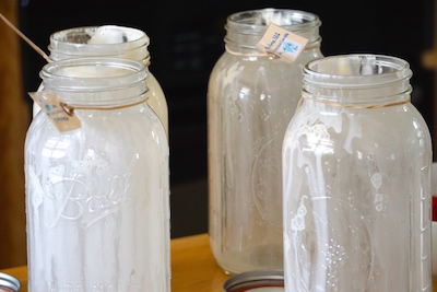 How can you not love those jars?  Two gallons of beautiful milk!